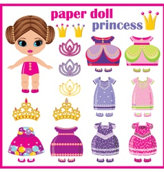 Paper doll princess with a set of clothes vector