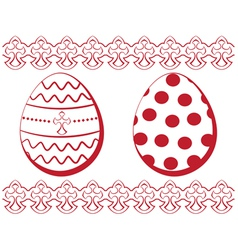 Easter set eggs with a pattern and a border vector