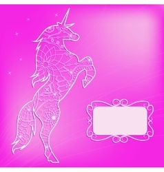 Pink backdrop with unicorn vector