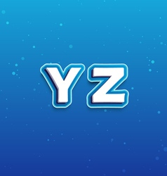 3D Font in Cartoon style with letters from Y to Z vector image