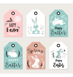Easter tags labels with cute banny vector