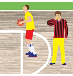 Basketball player and referee vector