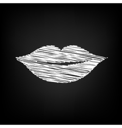 Lips sign scribble effect vector