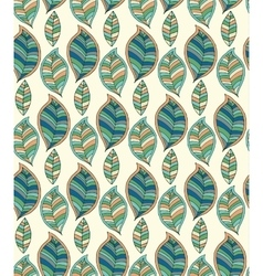 Seamless pattern with hand drawn green leaf vector