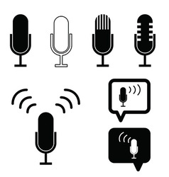 Microphone set ancient icon in black vector