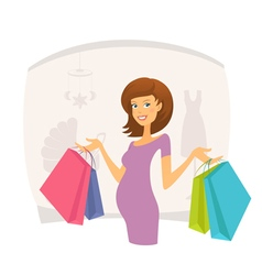 Happy pregnant woman with shopping bags vector