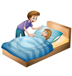 a boy and sleeping girl vector image vector image