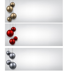 Banners with colorful christmas balls vector image vector image