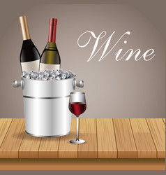 Bottle wine ice bucket glass cup table wooden vector