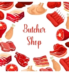 Butcher shop butchery meat products poster vector image vector image