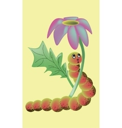 Cartoon caterpillar under the flower vector image vector image