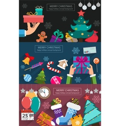 Christmas cards flat design vector image