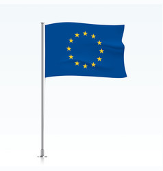 European union flag waving on a metallic pole vector
