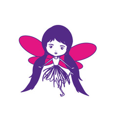 Girly fairy with wings and pigtails hair with vector