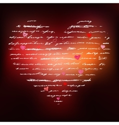Heart of Handwriting text vector image vector image