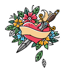 heart with dagger ribbon and flowersretro tattoo vector image