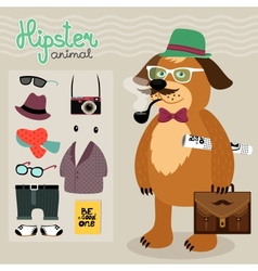 Hipster elements for puppy dog vector