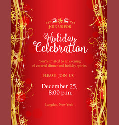 holiday party invitation with with gold decorative vector image