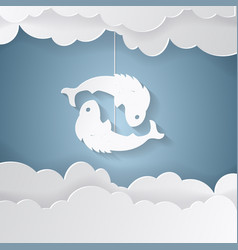horoscope paper cut style concept of two fish for vector image vector image