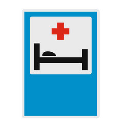 hospital bed and medical cross icon flat style vector image