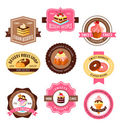 Icons set for pastry dessert cakes vector
