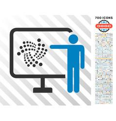 Iota project presentation flat icon with bonus vector