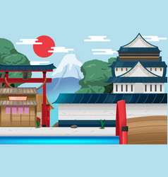japan travel old city background vector image