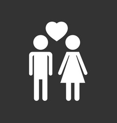 Man and woman with heart icon on black background vector