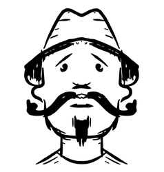 Man face with mustaches vector