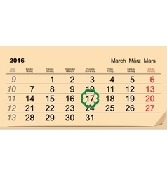 Saint Patricks Day Calendar 2016 March 17 vector image vector image