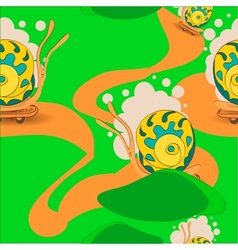 Seamless sample riding snails on a skateboard vector image vector image