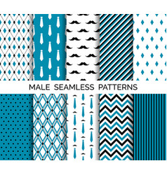 Set of seamless male blue patterns vector