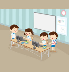 students boy and girl are working with computer vector image vector image
