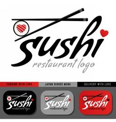 Sushi restaurant logo template vector image