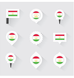 Tajikistan flag and pins for infographic and map vector
