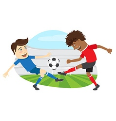 Two funny men soccer player playing football vector