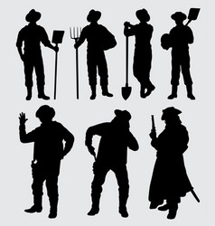 Worker and cowboy silhouette vector