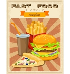 Fast food retro style poster vector