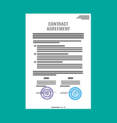 Contract agreement paper blank with seal vector