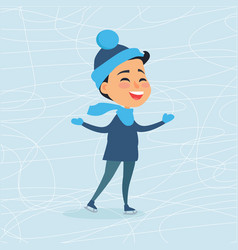 Cartoon smiling male person on icerink in winter vector