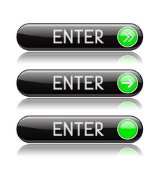 black enter buttons with green tags and reflection vector image