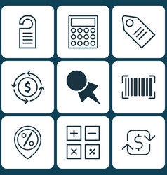 set of 9 e-commerce icons includes recurring vector image