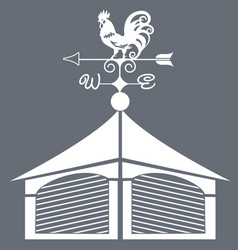 Weather vane rooster black and white vector