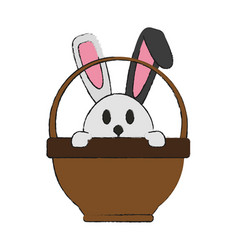 Bunny or rabbit with egg and basket easter related vector