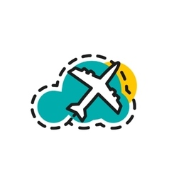 Color line icon for flat design airplane flight vector
