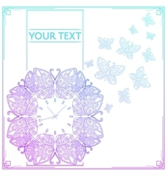 Butterfly clock colored vector