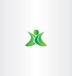 eco green leaf man logo yoga sign vector image