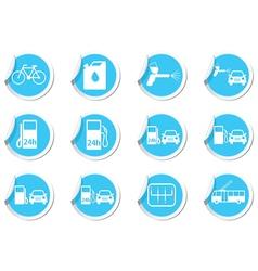 Set of stickers transport blue label vector