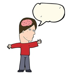 Cartoon man with brain with speech bubble vector
