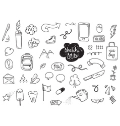 Sketch set hand drawn elements vector
